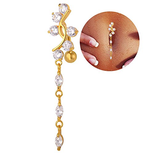 U7 Women Cubic Zirconia Long Dangle Navel Ring 18K Gold Plated Sexy Body Piercing Belly Button Rings Czs Dangle Belly Ring