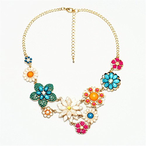 Qiyun Colorful Flower Beaded Festoon Lavalier Y Bib Choker Collar 18K Gold Necklace