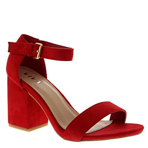 Ankle Wide Shoe Block Casual Strap Suede Heel Mid Viva Red Womens Sandals pYqwRzn5