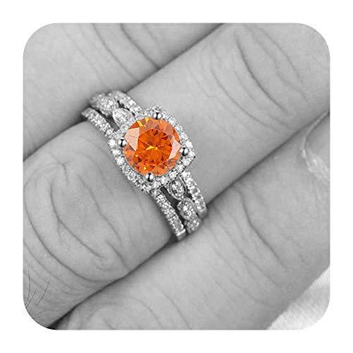 - tusakha 9mm Round Cut Created Orange Sapphire & Diamond .925 Sterling Silver Art Deco Engagement Wedding 3pcs Ring Band Set for Women's