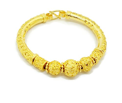 (Lai Thai Gold Plated Bangle 24k Thai Baht Yellow Gold Filled Bracelet Free Gift Earrings 1 Pair )