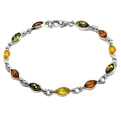 Multicolor Amber Sterling Silver Marquise-shaped Bracelet 19cm Q94J0C