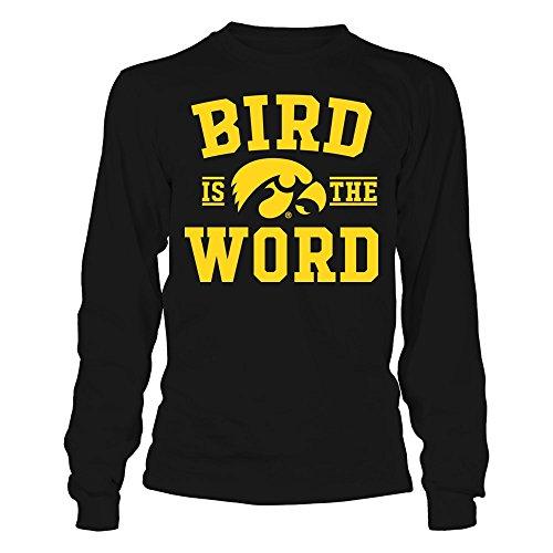 FanPrint Iowa Hawkeyes T-Shirt - Bird is The Word - Longsleeve Tee/Black / 2XL ()