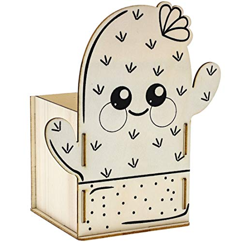 Bright Creations 8-Pack DIY Unfinished Wood Cactus Box Kit for Painting and Crafts, 3.5 x 7 Inches (Unfinished Wood Craft Boxes)