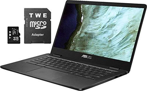"""ASUS Chromebook 14"""" HD LED-Backlit Screen Laptop, Intel Celeron N3350, 4GB DDR4, 32GB eMMC SSD, Wi-Fi, Bluetooth, Webcam, Online Class Ready, Chrome OS, TWE 64GB MicroSD Card"""