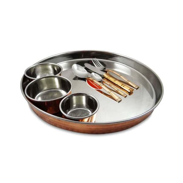 Traditional Copper and Steel Thali Serving Set 2