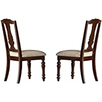 Homelegance Glendive Dining Chairs Polyester Seats (Set of 2), Cherry