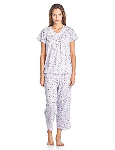Casual Nights Women's Short Sleeve Floral Capri Pajama Set - Purple - X-Large