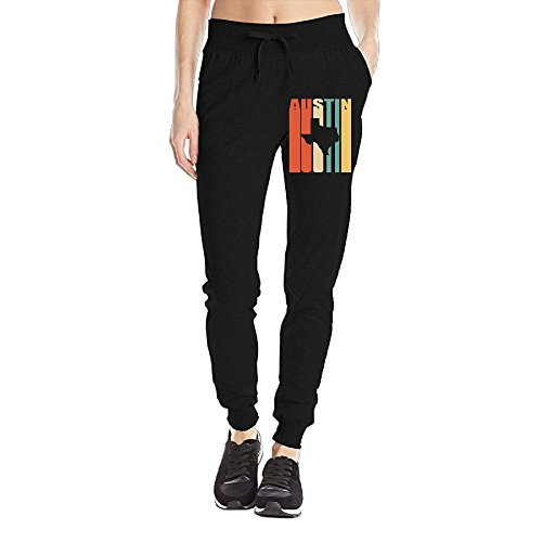 SK*NN Women's Closed Bottom Jersey Sweatpant, Vintage Austin Texas Workout Pants (Texas Workout Pants)