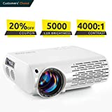 Crenova Video Projector, 5000 Lux Home Movie Projector(550 ANSI), 200' Display HD LED Projector 1080P Supported, Work with Phone, PC, Mac, TV Stick, PS4, HDMI, USB for Home Theater[2019 Upgraded]
