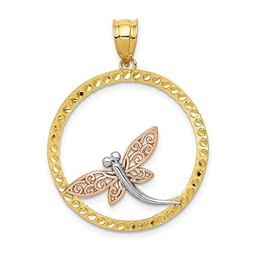 14k Yellow Rose Dragonfly Pendant Charm Necklace Insect Fine Jewelry Gifts For Women For Her