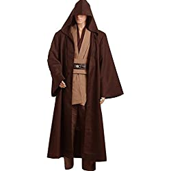 Cosplaysky Men Halloween Costume Tunic Hooded Robe Outfit Brown Version X-Large