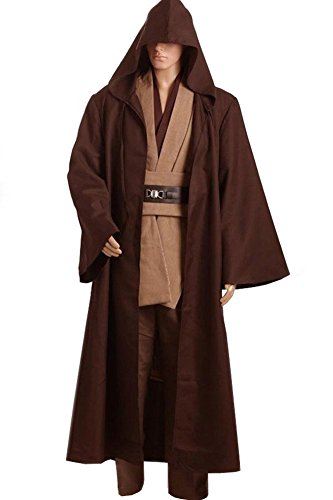 Cosplaysky Men Halloween Costume Tunic Hooded Robe Outfit Brown Version Large