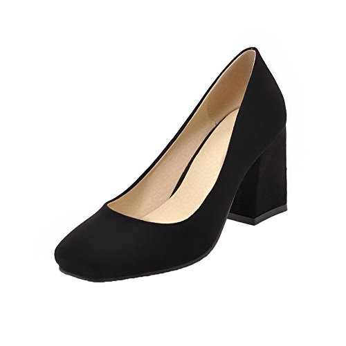 Odomolor Women's Kitten-Heels Solid Pull-On Frosted Closed-Toe Court Shoes Black TLpzB