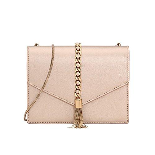 Charles & Keith PU Tassel Detail Envelope Bag Small Chain Strap Shoulder Handbag (Rose Gold / Black) (Rose Gold)