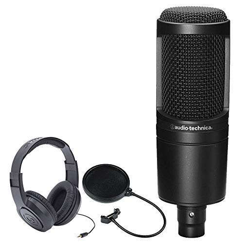 Audio-Technica AT2020 Cardioid Condenser Studio Microphone + Samson SR350 Over-Ear Stereo Headphones + CAD Audio EPF-5A VP 1 Pop Filter 6 on 14-Inch - Cardioid Mic Electrovoice Condenser