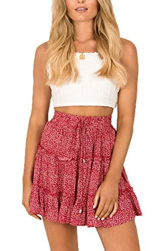 (SimpleFun Womens Beach Red Polka Pot Aline Mini Skirts Summer Ruffle Short)