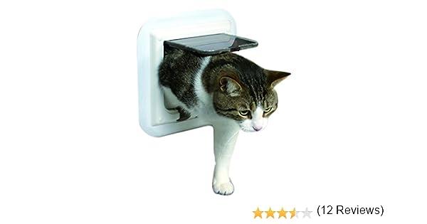 Gatera 4 Posiciones, para Puertas Cristal, Blanco: Amazon.es: Productos para mascotas