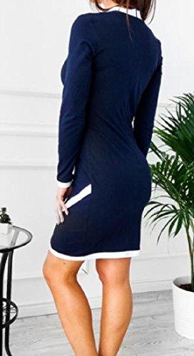 Confortables Femmes Silm Élégant Robes Sexy Intègrent De Point De Couleur Manches Longues Noir