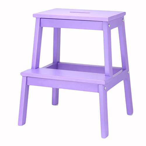 ALUS-step stools Solid Wood 2 Layer Multifunction Storage Stool Shoe Bench Children Climbing Ladder Flower Stand Foot Stool Northern Europe for Indoor Kitchen Use (Color : Purple)