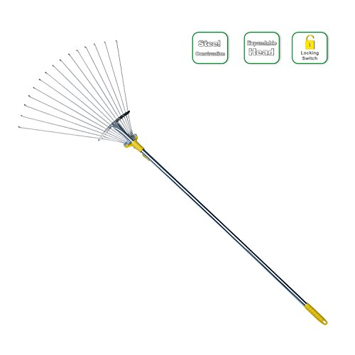 Jardineer 60 inch Adjustable Garden Leaf Rake,Collect Leaf Among Delicate Plants,Lawns and Yards.Expandable Head from 7-1/2 inch to 19 inch.Ideal Garden Tools Gifts. 1 Year Warranty