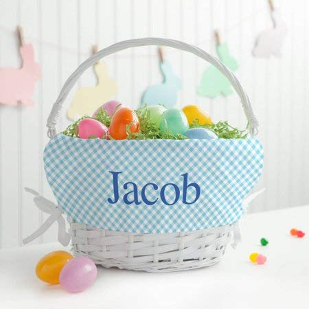 Personalized White Wicker Easter Basket with Blue Liner -
