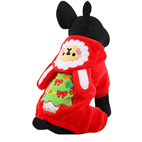 Budd Pet Clothes Winter Velvet Puppy Costume Outwear Dog Hoodies Coat with Hat for Small Medium Large Dogs Halloween Christmas Holiday Apparel Outfit(Red,L)