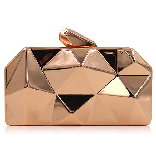 Gold Clutch Bag Hexagonal Women's Evening Crossbody Purse Rose Simple Bags Handbag Iron Mini Superw Box Women Handbag q4aUB