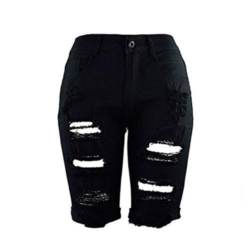 Pantaloncini Da Stirata Slim Distrutti Donna Skinny Casual Denim Di Jeans Nero Bermuda Strappati Ashop azarq