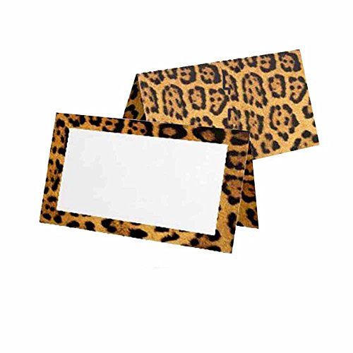 (Leopard Print Place Cards - 10 Pack - Tent Style - Solid Blank White Front with Border - Placement Table Name Seating Stationery Party Supplies Occasion Event Dinner)