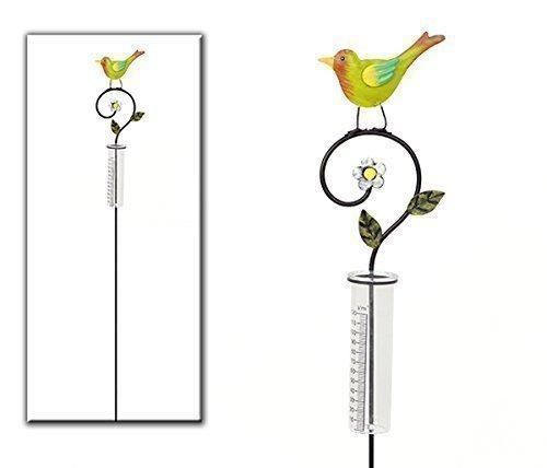 Regenmesser Vogel mehrfarbig aus Metall HausderHerzen.de