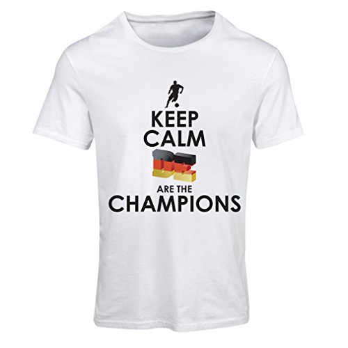 fan products of N4464F T Shirts For Women Keep Calm, Germans Are The Champions (X-Large White Multi Color)