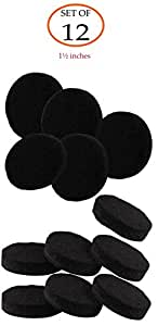 Self-Stick Black Round Felt Pads 12-Piece Value Pack for Furniture Legs Protect Tile Linoleum Vinyl Wood Floors – 1 1/2 inch, (thickness: 5mm)