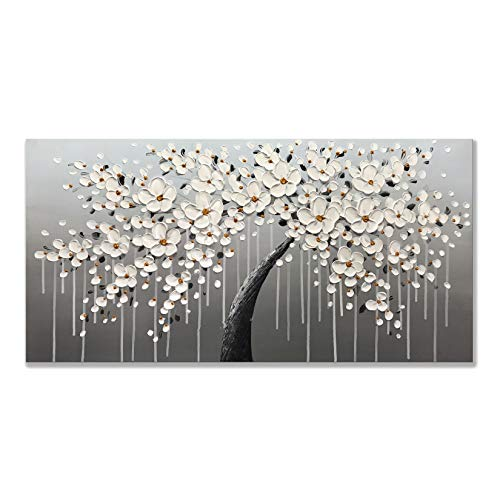 Zoinart Abstract Canvas Oil Paintings 24x48 Inch 100% Hand Painted Blooming White Flower Artwork Large Modern Canvas Wall Art Home Decorations for Living Room Bedroom Wall ()