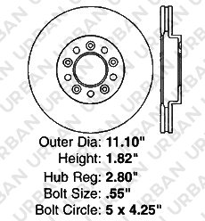 5lug -Combo Brake Kit 2 Heavy Duty Zinc Plated Cros Drill Brake Rotor 4 Ceramic Pad Front Kit