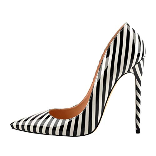 Onlymaker Women's Pointy Toe Slip On Stiletto High Heels Large Plus Big Size Shoes Office Party Wedding Classic Pumps with Black and White Stripe US 13