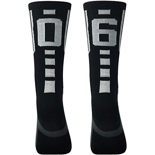 Comifun Team Number Athletic Socks Teenager Dri Tech Moisture Control NBA NFL MLB NHL Custom Sport Athletic Crew Mid Calf Socks,1 Pack