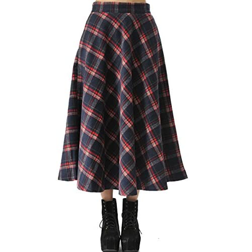 Femirah Women's Winter Long Maxi Wool Plaid Skirt High Waisted A Line Skirt