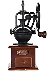 Runtodo Manual Coffee Grinder Antique Cast Iron Hand Crank Coffee Mill with Grind Settings & Catch Drawer