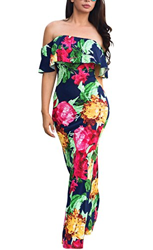Vintage Hawaiian Long Dress - Suimiki Vintage Ruffle Plain Floral Printed Off Shoulder Bodycon Long Party Maxi Dress Rose X-Large