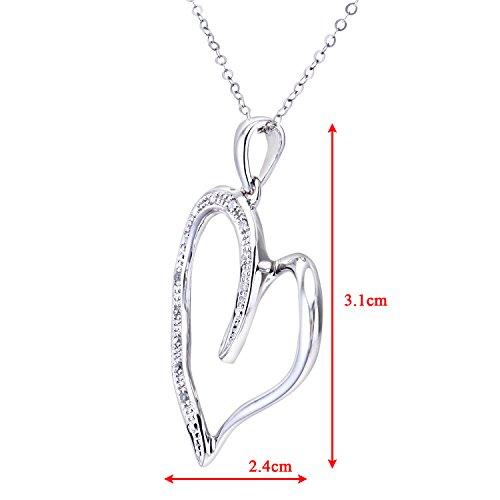 Naava Collier Femme avec pendentif - Coeur - Or blanc (9 carats) - Diamant 0.004 Cts