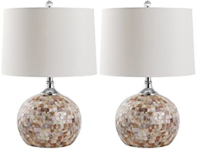 Safavieh Lighting Collection Nikki Ivory Shell 21.5-inch Table Lamp (Set of 2)