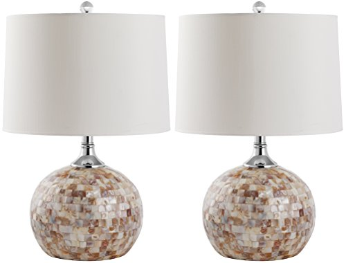 Safavieh Lighting Collection Nikki Ivory Shell 21.5-inch Table Lamp (Set of 2) ()