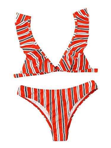 SOLY HUX Women's Sexy Ruffle Strap Triangle Two Piece Bikini Set Swimwear Red S