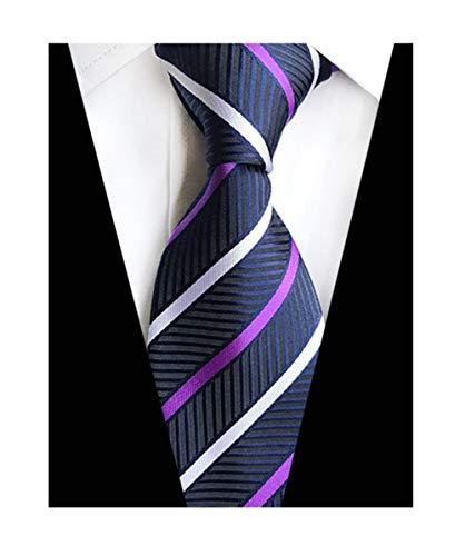 MENDENG New Classic Striped Purple White Streak 100 Silk Men's Tie Necktie Ties