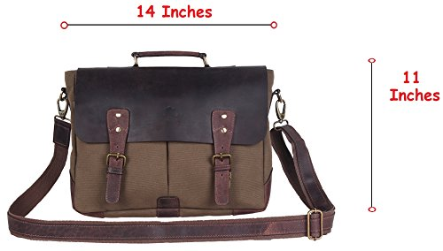 15 Inch Rustic Town Handmade Leather Canvas Vintage Crossbody Messenger Bag Gift Men Women Travel Work ~ Carry Laptop Computer Books ~ Sling Shoulder …