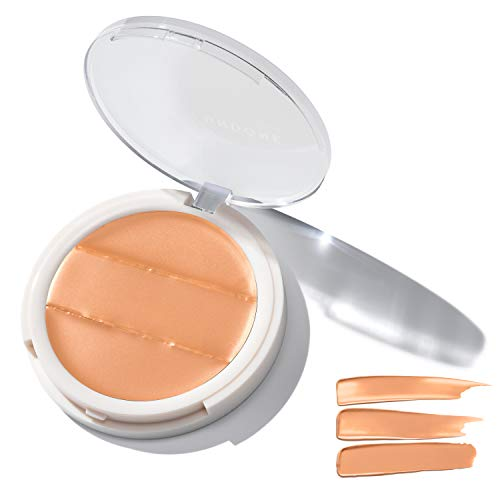 3-in-1 Cream Concealer & Highlighter. Natural Coconut for Dewy Glow - UNDONE BEAUTY Conceal to Reveal. For Blemishes, Tattoos, Under Eye Circles & Wrinkles. Vegan & Cruelty Free LATTE MEDIUM