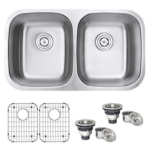 Ruvati 32-inch Undermount 50/50 Double Bowl 16 Gauge Stainless Steel Kitchen Sink - RVM4300
