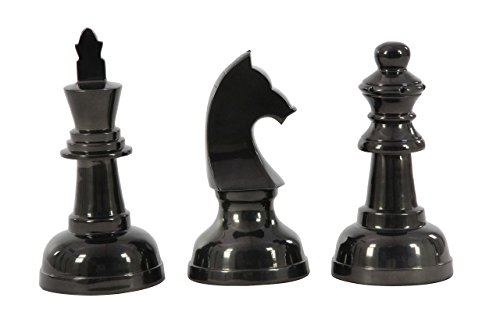 Chess Aluminum (Deco 79 28542 Aluminum Chess Pieces Sculptures (Set of 3), 9