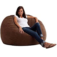 Large 4 Fuf Comfort Suede Bean Bag Chair, Filled with Super Soft and Long Lasting Durability Fuf Foam (Espresso)